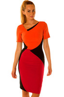 Wholesale Red Color Block Bodycon Dress - 2016 Fashion New Women Short Sleeves Pacthwork Red Color Blocking Sexy Vintage Bodycon Midi Pencil Dresses