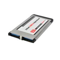 Wholesale Pci Expresscard Adapter - Hot 34 mm Express Card Converter PCI Express Card Expresscard to USB 3.0 2 Port Adapter
