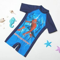 Wholesale Spiderman Swimwear - New baby boys 4-8T Cartoon Clothing Bodysuits summer one-pieces Swimsuit Children Fashion Cartoon Spiderman Avengers Swimwear