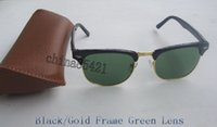 Wholesale Sunglasses Glasses Gold Men - Mens Womens Designer Sunglasses Semi Rimless Sun Glasses Gold Frame Green Glass Lenses 51mm With Brown Case