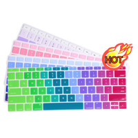 Wholesale Macbook Keyboard Colors - Soft Silicone Keyboard Cover Case for MacBook Air 11 13 inch Pro 13 15 Retina US alphabet Gradient Colors Stickers Protector