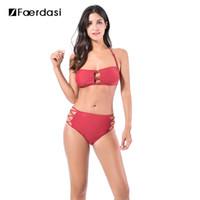 Wholesale Brazilian Bikini Set Xs -  Faerdasi 2017 Bikini Set High Waist Bikini Push Up Padded Halter Bandage Swimsuit Sexy Swimwear Women Brazilian Bathint Suit
