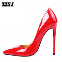 Wholesale Wedding Dresses Red Large Sizes - ZZYJ Women's patent leather high heels large size 48 pumps shoes classic sexy pointed toe ladies Spring summer high heels C8293