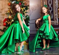 Wholesale Emerald Green Sashes - Emerald Green Satin Girls Pageant Dresses Crew Neck Cap Sleeves Short Kids Celebrity Dresses 2017 High Low Flower Girls Gowns