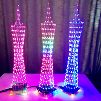 Wholesale Led Cube Diy - 3D DIY Kits Light Cube Electronic Tower Colorful LED Display + Remote Control 3D Tower Kits Christmas Gift-Wholesale free shipping