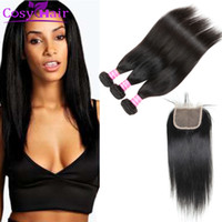Barato Pacote De Fecho De Renda Superior-Venda por atacado Brazilian Straight Virgin Human Hair Weave Bundles com Top Lace Encerramento Cheap Hair Extensions 3 Bundles e Weaves Encerramento 4x4