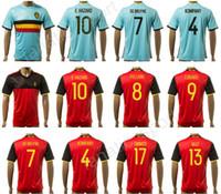 Wholesale National Soccer Team Uniform - 17-18 National Team 10 Eden Hazard Soccer Jersey Belgium Footbal Shirt Uniform Customized 9 Romelu Lukaku 7 Kevin De Bruyne Thailand Quality