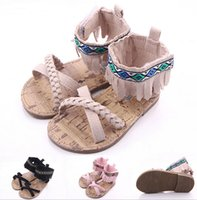 Wholesale Crib Shoes Flowers - Fashion New Fringe Baby Summer Shoes Infants Outdoor Crib First Walkers Hard Sole Antislip Toddlers Princess Shoes