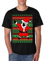 Wholesale Christmas Fashion Tshirts - Top Quality Cotton Short Sleeve Mens T Shirt Dabbing Santa Ugly Christmas Cool Xmas Tee 2017 Shirts For Men Men Tshirts Fashions Tshirt