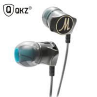 Wholesale Dj Stereo - Earphone QKZ-X10 Zinc Alloy Noise Cancelling Headsets DJ In Ear Earphones HiFi Ear Phone Metallic Earbuds Stereo in-Ear Earphone