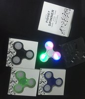 Wholesale light up spin top - New design LED Light up Hand Spinners Fidget Spinner Triangle Finger Spinning Top Colorful Decompression Fingers Tip Toys Fingertip Gyro