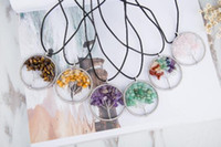 Wholesale Chip Necklaces - JLN Crushed Stone Chakra Life Tree Pendant Multi color Stone Chips For Wisdom Tree Natural Stone Necklace