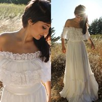 Wholesale Wedding Dresses Trimmed Red - 2017 Vintage Country Style Bohemian Wedding Dress Off the Shoulder Lace Trim Chiffon Beach Garden Boho Bridal Gowns Full Length
