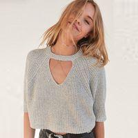 Wholesale Loose Cute Sweaters - 2017 Gray Crocheted Women Pullovers Cute Big Size Short Sleeves Autumn Loose Sweaters Sweters Hollow Sweater Womens Tops 50N0498