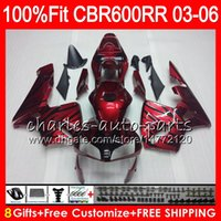 Wholesale Honda Rr - 8Gifts 23Colors Injection For HONDA Dark red CBR 600 RR CBR600RR 03 04 05 06 43HM9 CBR 600RR F5 CBR600F5 CBR600 RR 2003 2004 Fairing kit