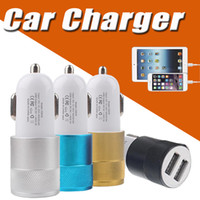 Wholesale 12 Volt Car Plug - Metal Car Charger Dual USB Port Colorful Mirco USB Car Plug Universal 12 Volt  1~2 Amp USB Adapter For iPhone X 8 7 Samsung S8 Note 8 S7