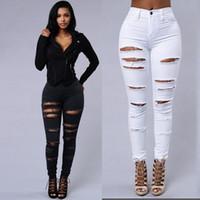 jeans ajustados elásticos de alta para mujer al por mayor-Jeans elásticos delgados para mujeres agujero de cintura alta rasgado más tamaño gordo para mujer jeans delgados pantalones de pies jeans ajustados negros de cintura alta denim