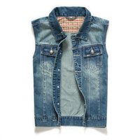 Wholesale Denim Short Jackets Wholesale - Wholesale- T 2016 men's spring and autumn new clothing denim vest male design sleeveless short jacket outerwear vintage vest