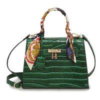 Wholesale vintage handbags hobo - Alligator women handbags new style designer shoulder bags for women luxury brand ribbons ladies evening bags free shipping