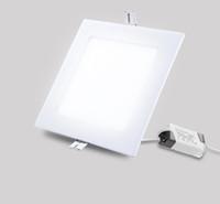 ingrosso luci a soffitto quadrate-Ultra-sottile 3W 6W 9W 12W 15W 18W 24W LED Panel Light Square da incasso a soffitto Lampada da incasso per bagno di casa Apparecchi di illuminazione
