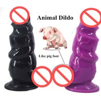 """Wholesale Dildos Thick - 2.95""""Thick Big Animal Dildos with Suction Cup Silicone Dildo Ribbed Extra Stimulate Huge Anal Plug Erotic Sex Toys for Women"""