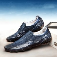 Wholesale Slip Shoes Men Cowboy - Water Washing The Old Cowboy Driving Shoes Casual Men Shoes Luxury Sneakers Comfortable Sets Feet Really Leather Summer Mens Loafers V8004