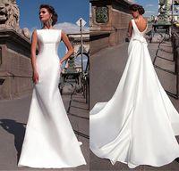 Wholesale Satin Detachable Wedding - 2017 Charming Bateau Neckline Mermaid Wedding Dresses With Detachable Train vestidos de novia Draped Hard Satin Wedding Gowns