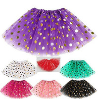 Wholesale Newborn Infant Photography Clothing - Baby Girls Gold Polka Dot Tutu Skirt Baby Clothes Tutus Dress Kids Skirts Toddler Skirts Red Infant Pettiskirt Newborn Photography Props