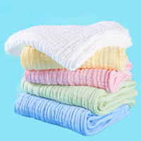 Wholesale Wholesale Baby Cotton Wash Cloths - Wholesale- 10pcs lot 6 layers Baby Bibs Gauze Muslin Newborn Face Towel Cotton Kids Wash cloth Handkerchiefs Infant Feeding Saliva Towel