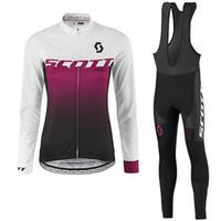 Wholesale Scott Women Cycling Set - scott 2017 new women long sleeve bib kits cycling jerseys sport wear cycling clothes mtb bike bicycle clothing women cycling set