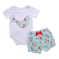 Wholesale Baby Sunsuit - New Baby Girls Clothes Short Sleeve Baby Girls Bodysuit Floral Short Set 2pcs Summer Toddler Sunsuit Girls Clothing Set