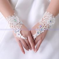 Wholesale Da Sposa - Wholesale-Hot Sale Lace Beaded Fingerless Short Bridal Gloves white Women Wedding Accessorie Luva De Noiva Guanti Da Sposa k53265 X07017