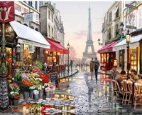 Wholesale Paintings Canvas Paris - Paris Street DIY Painting By Numbers Handpainted Canvas Painting Home Wall Art Picture For Living Room Unique Gift 40X50