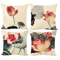 Inchiostro Lotus Pillow Case Lino Decorativo Cuscino Home Divano Tiro Cuscino a buon mercato Covers Home Decor Spedizione gratuita AL001