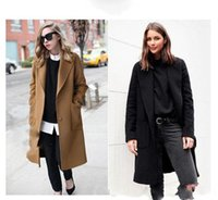 Wholesale Camel Coat Lapel - Camel Black US 2017 Fall   Winter Women Notched lapel Single Button Simple Long Coat ZA style Career Overcoat manteau femme casaco feminino