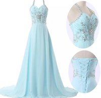Wholesale Simple Flower Girl Dresses - Sky Blue Halter Sleeveless Floor-Length Lace-up Bridesmaid Dresses 2017 Simple Fashion Flower Girls Gowns Free Shipping