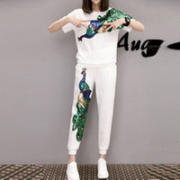 Wholesale Peacock Sequin Plus size Tracksuits Women Pants Set FashionSummer Trousers Suits Short Sleeve Sport Costumes for Ladies Two Piece