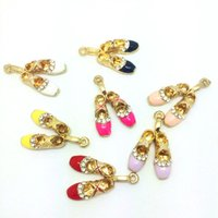 Wholesale Ballet Shoes Charms Pendants - Free Shipping 10pcs lot 17*27mm Gold Plated Beautiful Clear Rhinestone Ballet Shoes Enamel Charm Alloy Metal Pendant For DIY Female Jewelry