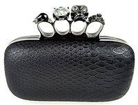 Wholesale Skull Knuckle Clutches - 2016 Famous Evening Bag Skull Knuckle Diamond Hasp Handbags Snake Skin Lines Clutch Luxury Bride Wedding Bags CTT220