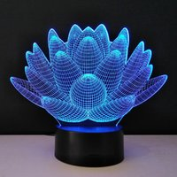 Wholesale Lotus Table Lamp - 3D optical illusion Night Lights Methacrylate plate Desk Table Lamp Bulb Lotus Flower USB Novelty Bedside lampad Home Deco Lampy