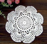 Wholesale Round Handmade Tablecloth - Wholesale- 20pcs set Handmade Crochet Tablecloth Colorful flower Placemat Shabby Chic Vintage Look Crocheted Doilies Free Shipping