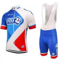Wholesale Team Fdj - 100% polyester quick dry team pro cycling wear 2017 season fdj cycling jersey gel bike shorts set mens ummer cycling clothing