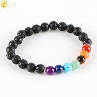 Wholesale Gem Beaded Bracelet - CSJA 8mm Women Men Natural Black Lava Rock Beads 7 Chakra Bracelets Healing Energy Stone Meditation Gem Stone Mala Bracelet E278