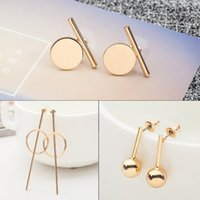 Europeus Trendy Circle Bead Stud Earrings Prata Gold Plated Earring Mulheres Lady Party Moda Fine Jewelry