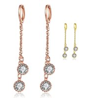 Wholesale Wholesale Gold Disco Ball - Women Long Earrings Fashion 18K Yellow Rose Gold Hanging Double Disco Ball Inlaid Cubic Zirconia Dangles Earring Jewelry for Lady Girl Gifts