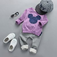 Wholesale Micky Pant - Boys Girls Sets Christmas Kids Clothing 2016 Autumn Cute Micky Long Sleeve Cotton Tops + Pants 2 Pieces ER-909