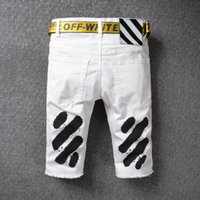 Wholesale Cotton Belts For Sale - 2017 Fashion Off White Short Denim With Belt Spray Painting Striped Jeans For Men 28-40 For Sale