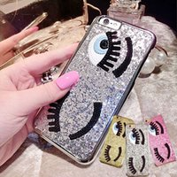 Wholesale Bling Iphone Big - Glitter Bling 3D Big Eyes Eyelashes Phone Case for iPhone 6 6S 6 Plus 7 7 Plus Fundas Fashion Chiara Ferragni Sequins TPU Soft Back Cover