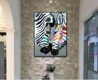 pinturas a óleo animais abstratos venda por atacado-Pintura a óleo de zebras pinturas abstratas pintadas à mão da lona da zebra da arte animal abstrata contemporânea da pintura animal