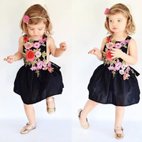 Wholesale Little Girl Dresses Summer 2017 New Sleeveless Floral Girls Clothes Moda Bordado Flor Kids Party Dress Children Clothing